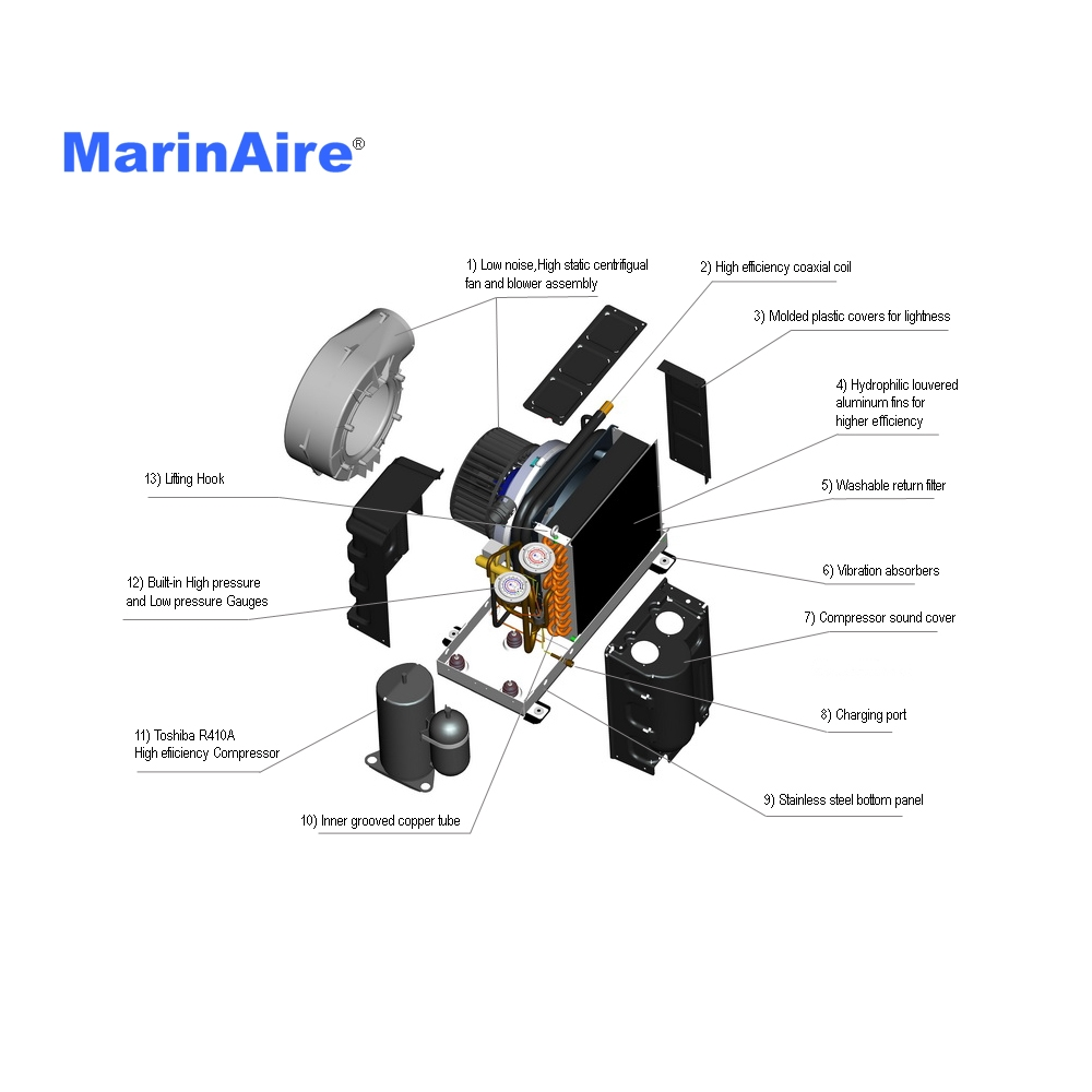 16000 Btu 110v Self Contained Marine Air Conditioner System Best 120vac Wiring Msba16k2
